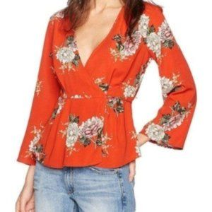 Astr The Label Wrap Front Floral Blouse